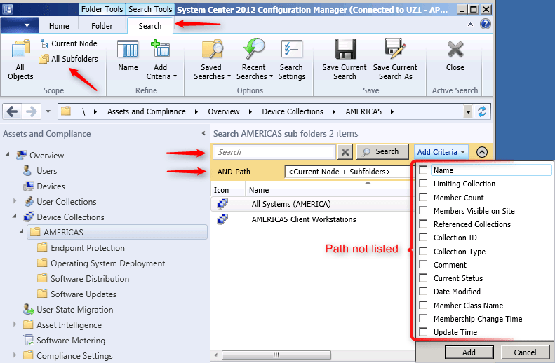 SCCM 2012 console subfolder searching