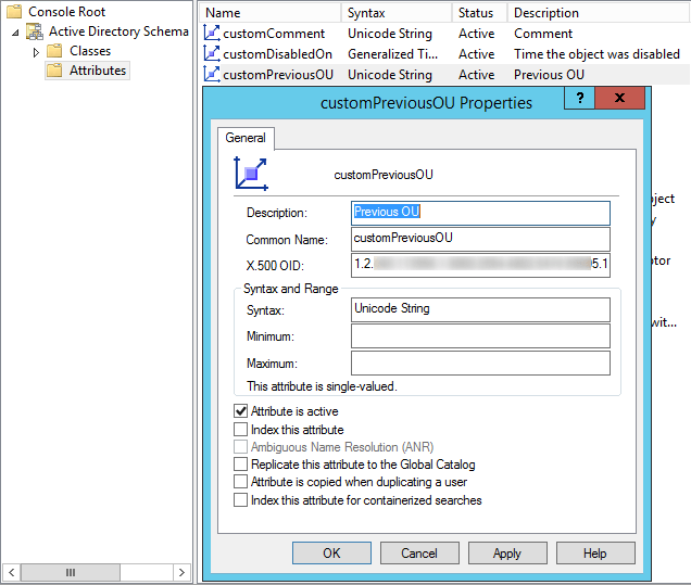 Create a custom Active Directory attribute