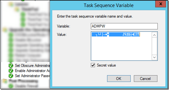 Using a Task Sequence Secret Value when changing a local password